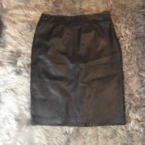 Chocolate Kasper Leather Skirt
